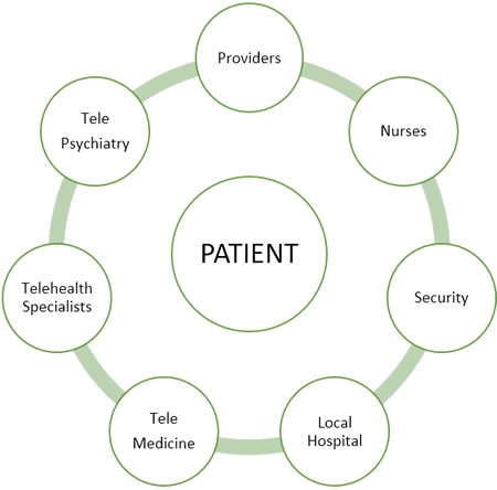 Patient -- Providers, Nurses, Security, Local Hospital, Telemedicine, Telehealth Specialists, Telepsychiatry